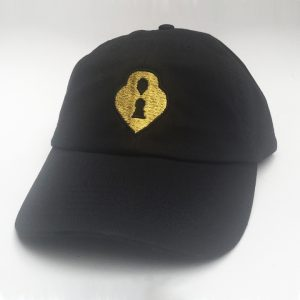 Black and Gold Lox Locket Embroidered Hat
